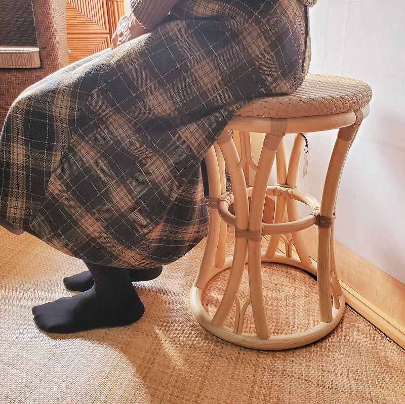 室内用籐&人工ラタンスツール(ナチュラル)