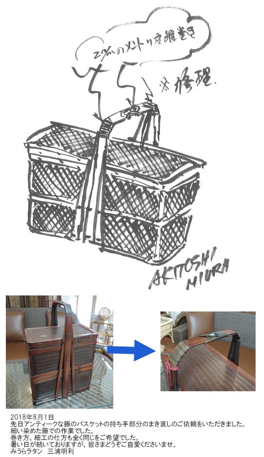 アンティークな籐のバスケット修理